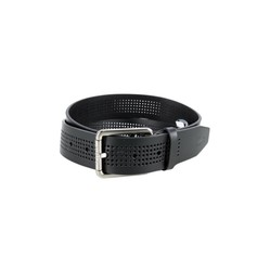 Thắt Lưng Lacoste Men's Perforated Black Leather Belt With Roller Buckle RC3013-H02