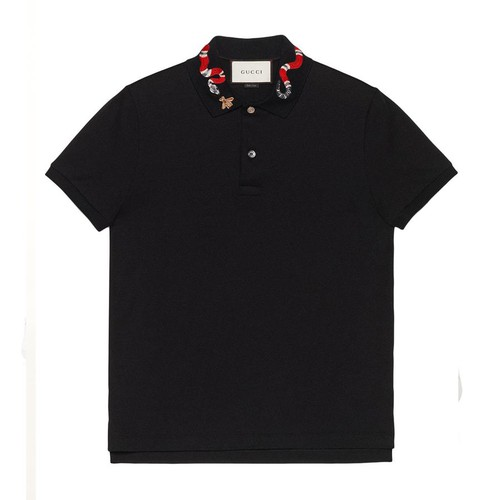 Áo Gucci Cotton Polo With Kingsnake Embroidery Black