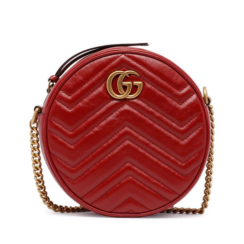 Túi Xách Gucci Gg Marmont Mini Round Shoulder Bag Red