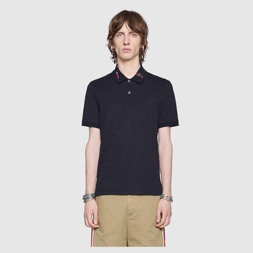Áo Phông Gucci Embroidered Cotton Polo Màu Đen, Size L