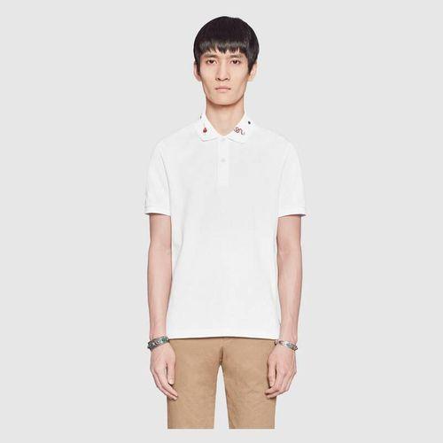 Áo Phông Gucci Embroidered Cotton Polo Màu Trắng, Size M