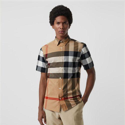 Áo Sơ Mi Burberry Short-sleeve Check Stretch Cotton Shirt Camel Size XS