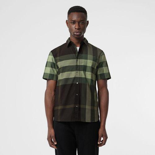 Áo Sơ Mi Burberry Short-sleeve Check Stretch Cotton Shirt Dark Forest Green Size S
