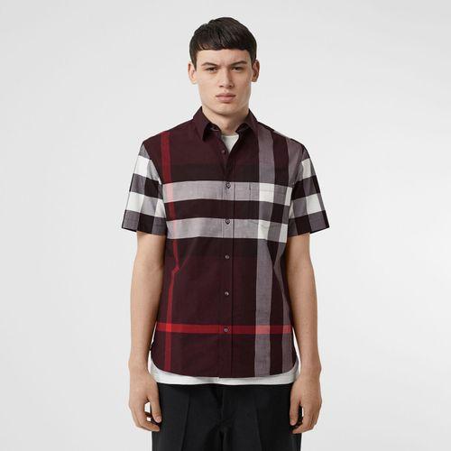 Áo Sơ Mi Burberry Short-sleeve Check Stretch Cotton Shirt Deep Claret Size S