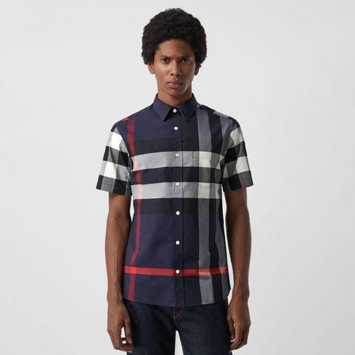 Áo Sơ Mi Burberry Short-sleeve Check Stretch Cotton Shirt Navy Size S