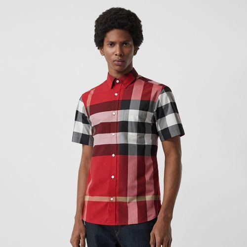 Áo Sơ Mi Burberry Short-sleeve Check Stretch Cotton Shirt Parade Red Size XS