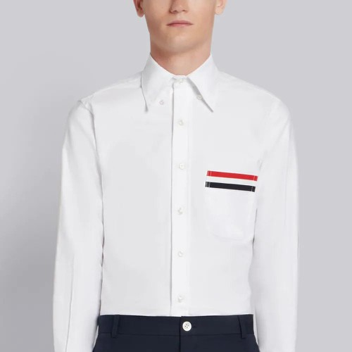 Áo Sơ Mi Thom Browne Grosgrain Pocket Trim Oxford Shirt Size XS