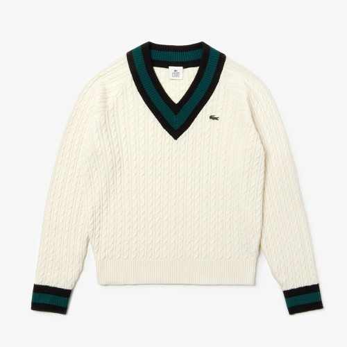 Áo Lacoste Unisex LIVE Cable Knit Wool Blend Sweater