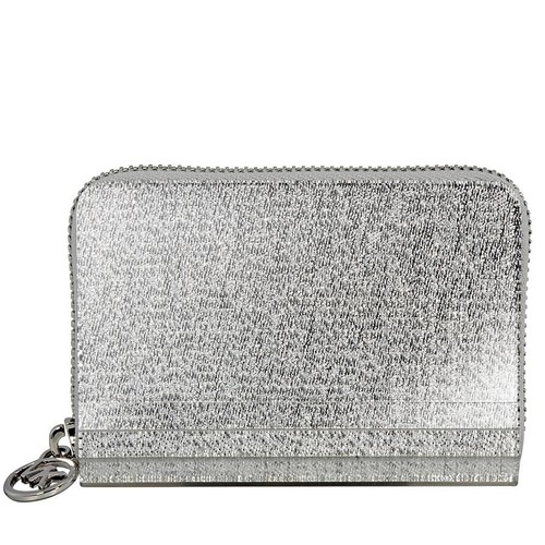 Ví Michael Kors Barbara Zip Around Metallic Coin Case- Silver
