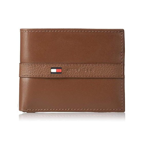 Ví Nam Tommy Hilfiger Men's Leather Wallet - Thin Sleek Casual Bifold Light Tan