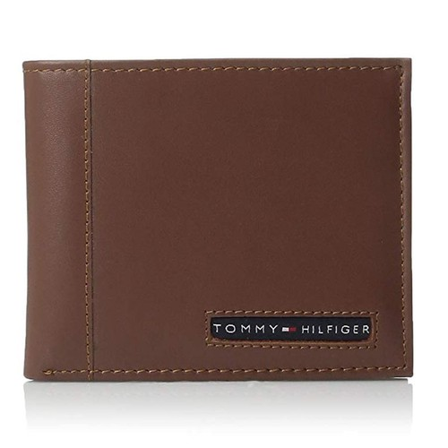 Ví Nam Tommy Hilfiger Men's Thin Sleek Casual Bifold Wallet Tan