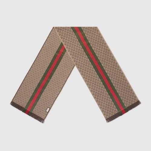 Khăn Gucci GG Jacquard Knitted Scarf
