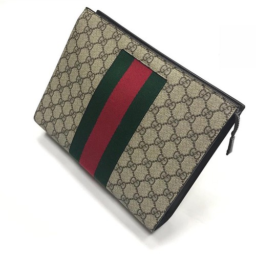 Túi Clutch Gucci Monogram Canvas SS2019 Màu Be