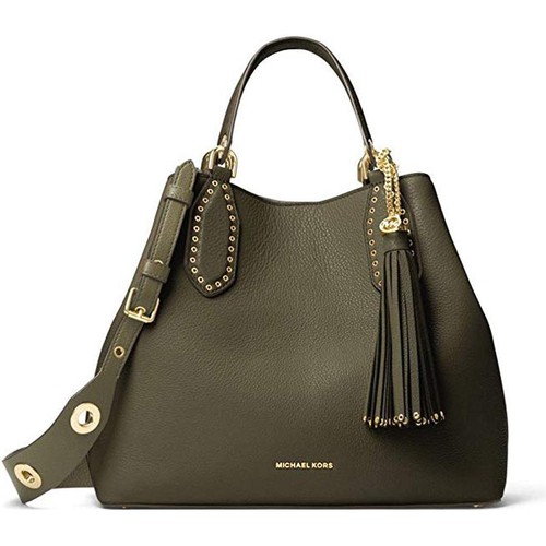 Túi Xách Michael Kors Brooklyn Leather Tote in Olive Size M