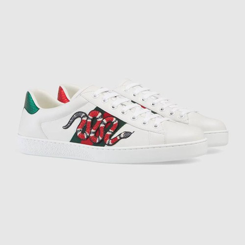 Giày Gucci Men's Ace Embroidered Sneaker Màu Trắng