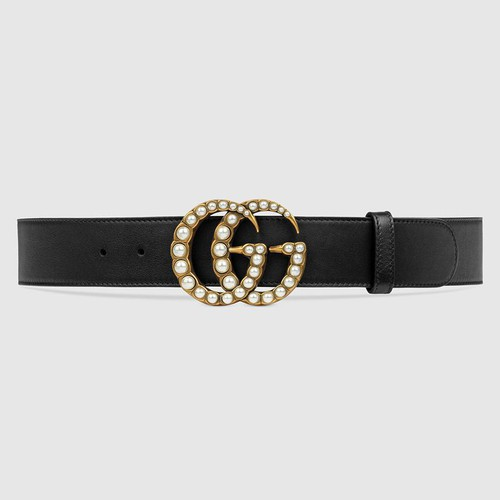 Thắt Lưng Gucci Leather Belt With Pearl Double G