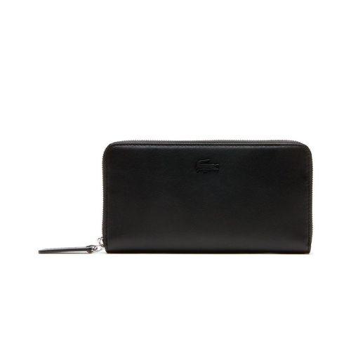 Ví Lacoste Women's L.12.12 Leather 8 Card Zip Wallet Black