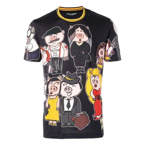 Áo Phông Dolce & Gabbana Pig Family Short Sleeved T-Shirt Màu Đen