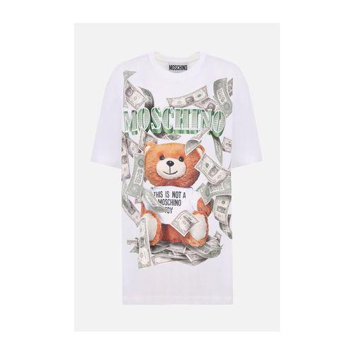 Áo Phông Moschino Dollar Teddy Bear Print Jersey Oversized T-Shirt Màu Trắng