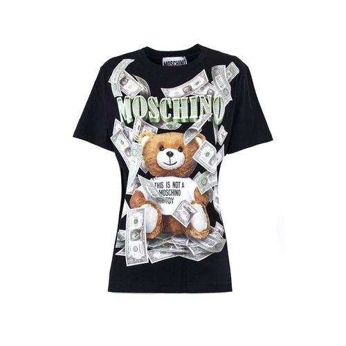 Áo Phông Moschino Dollar Teddy Bear Print Jersey Oversized T-Shirt Màu Đen