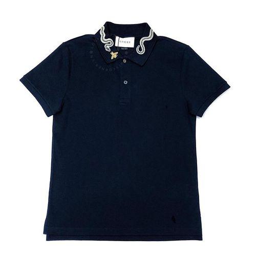 Áo Polo Gucci Màu Xanh Navy Cổ Họa Tiết Rắn
