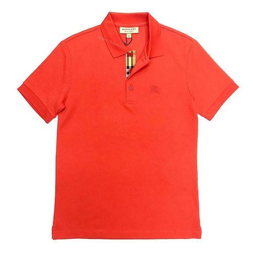 Áo Polo Burberry TB Cotton Check Short Sleeve Polo Shirt Màu Đỏ Cam