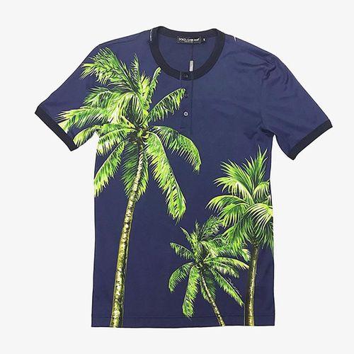 Áo Thun Dolce & Gabbana Men's Tropical Print T-shirt Màu Tím Than Họa Tiết Cây Dừa Size S