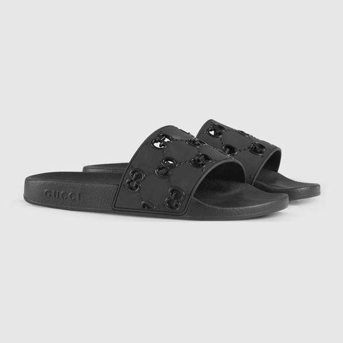 Dép Gucci Men's Rubber GG Slide Sandal Màu Đen Size 41