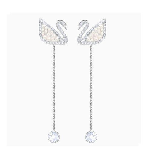 Khuyên Tai Swarovski Iconic Swan Pierced Earrings White Rhodium Plated