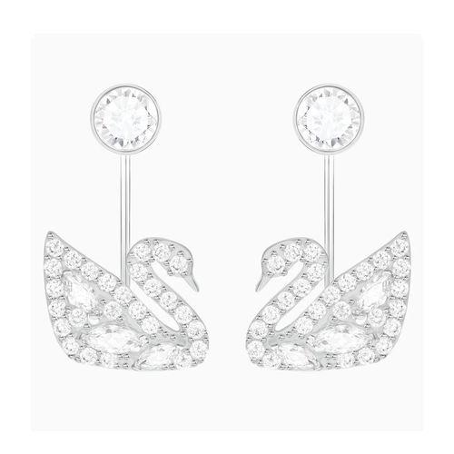 Khuyên Tai Swarovski Swan Lake Pierced Earring Jackets White Rhodium Plated Hình Thiên Nga