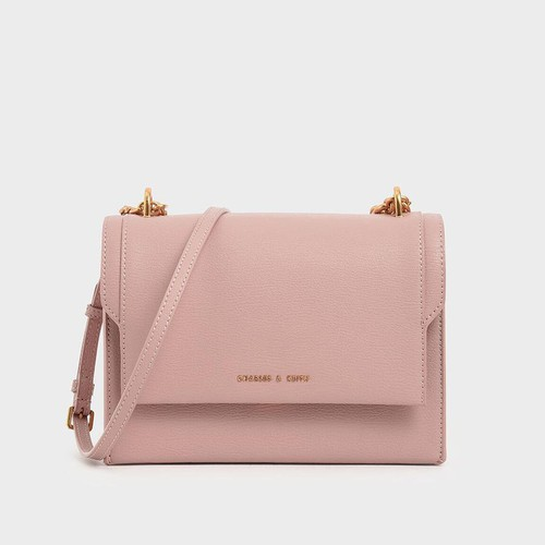Túi Charles & Keith Chain Link Embossed Crossbody Bag Màu Hồng - 1