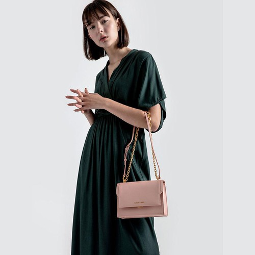 Túi Charles & Keith Chain Link Embossed Crossbody Bag Màu Hồng - 2