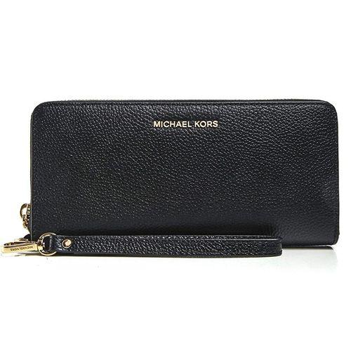 Ví Michael Kors Women's Pebbled Leather Continental Wristlet Màu Đen