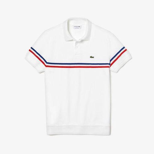Áo Phông Lacoste Regular Fit Tricolour Striped Polo Shirt Màu Trắng Size S