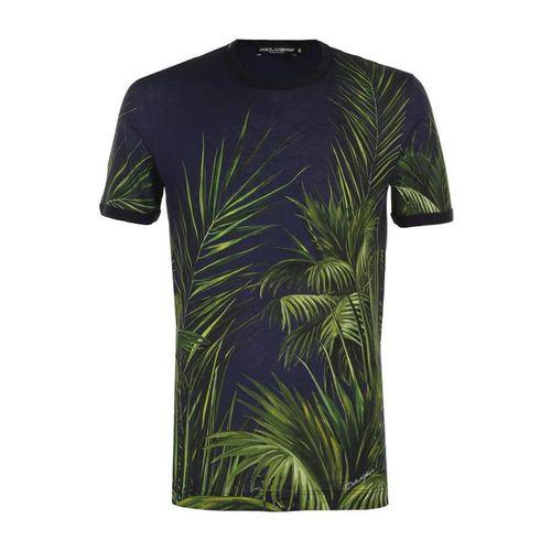 Áo Thun Dolce & Gabbana Men's T-Shirt Màu Xanh Navy Họa Tiết Lá Cây Size M