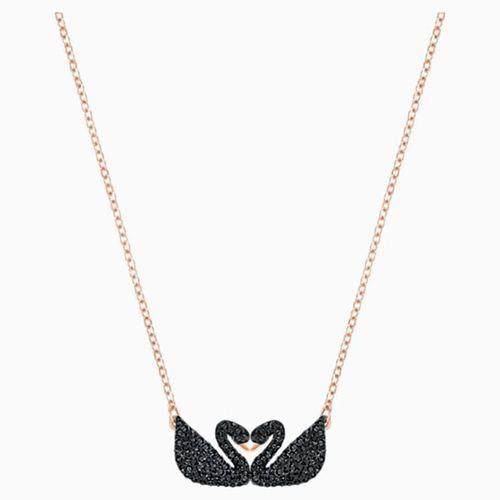 Dây Chuyền Swarovski Iconic Swan Necklace, Black, Rose-Gold Tone Plated Thiên Nga
