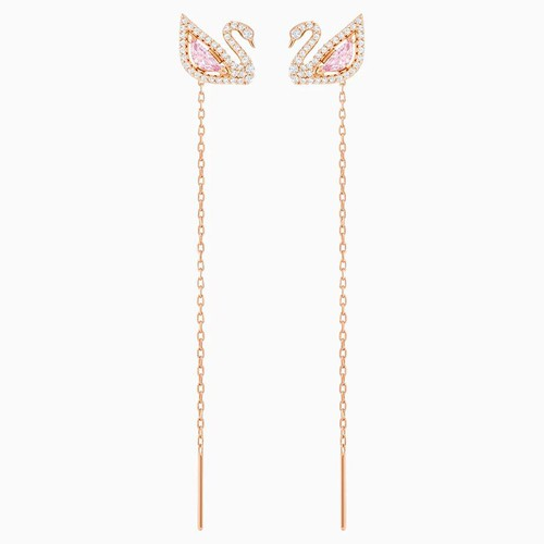 Khuyên Tai Swarovski Dazzling Swan Pierced Earrings, Multi-Colored, Rose-Gold Tone Plated
