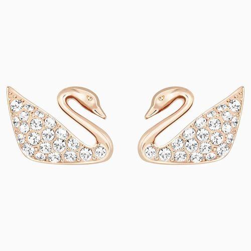 Khuyên Tai Swarovski Swan Pierced Earrings, White, Rose-Gold Tone Plated