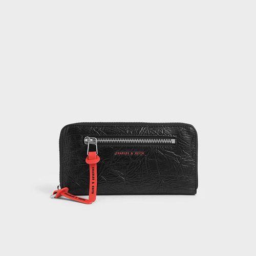 Ví Cầm Tay Charles & Keith Mini Wrinkled Effect Long Wallet CK6-10680817 Màu Đen