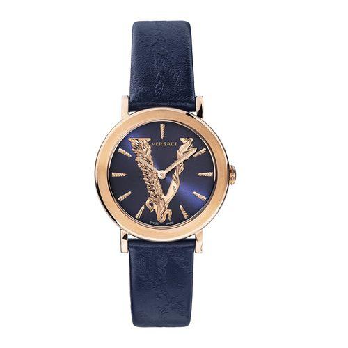 Đồng Hồ Versace Virtus Blue Leather Strap Watch VEHC00419 36mm Cho Nữ