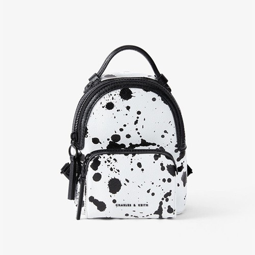 Balo Charles & Keith Printed Double Zip Backpack CK2-60150928 Mini Màu Trắng