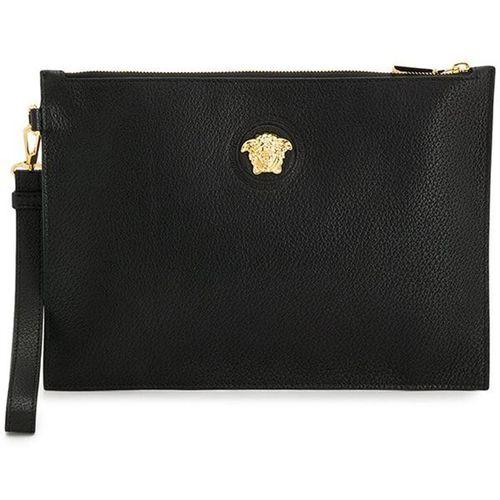 Ví Cầm Tay Versace Medusa Gold Black Calfskin Leather Clutch