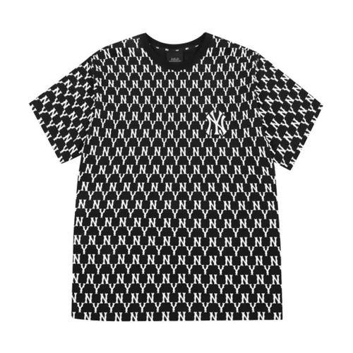 Áo Phông MLB Monogram Allover Overfit Short Sleeve T-Shirt New York Yankees Black Màu Đen Size XS