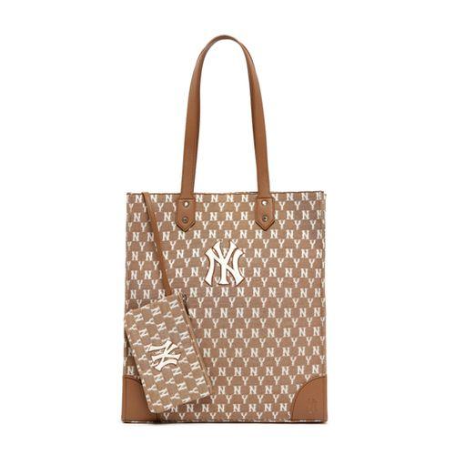 Túi Xách MLB Monogram Jacquard Shopper Bag New York Yankees 3AORL031N-50BGS Màu Nâu
