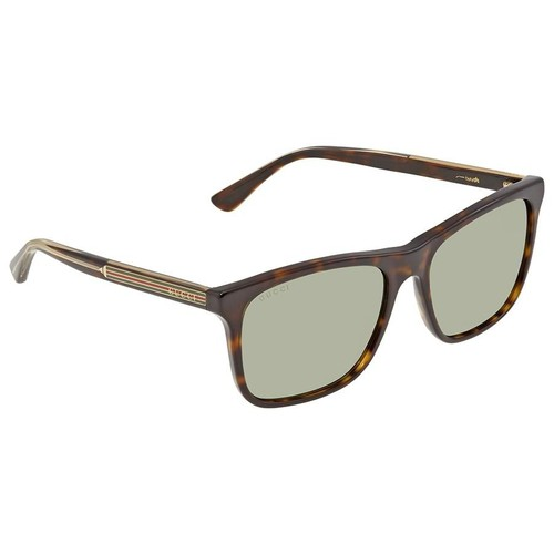 Kính Mát Gucci Green Silver Mirror Rectangular Men's Sunglasses GG0381S 008 57