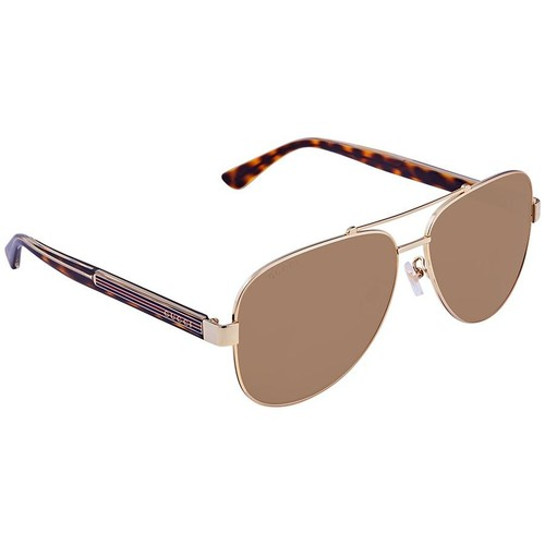 Kính Mát Gucci Brown Aviator Men's Sunglasses GG0528S 008 63