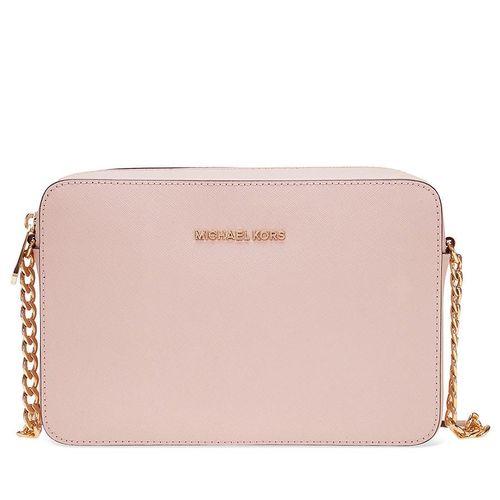 Túi Đeo Chéo Michael Kors Jet Set Large Saffiano Leather Crossbody - Soft Pink Màu Hồng Nhạt