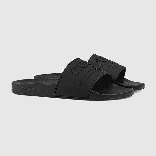 Dép Gucci Logo Rubber Slide Sandal Màu Đen Size 40.5