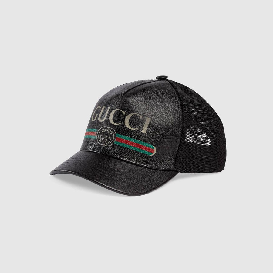 Mũ Gucci Print Gucci Leather Baseball Size M