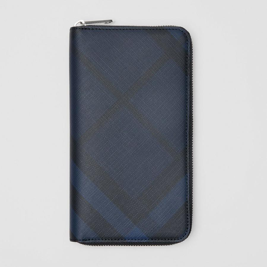 Ví Burberry London Check and Leather Ziparound Wallet Navy/Black